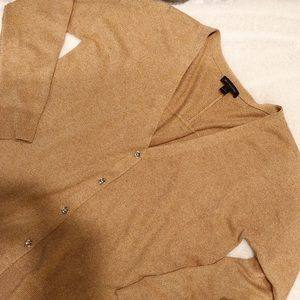 H by Halston Silk Cashmere Tan Button-Up Cardigan